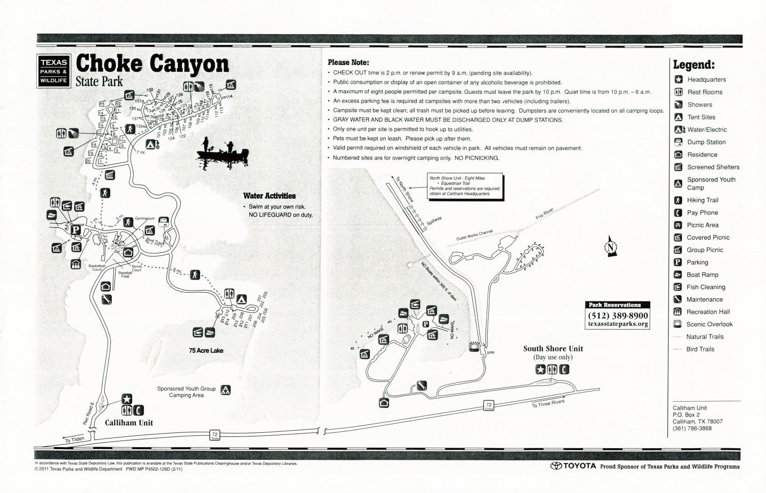 Choke Canyon State Park, Map of the Choke Canyon State Park outlining hiking trails and highlighting activities, facilities, and other features such as bathrooms, lodgings, water/electric, etc. It also contains general information for the park and for the Texas Parks and Wildlife Department. Additionally, there are various advertisements, including one with information about the Texas State Parks Pass.,