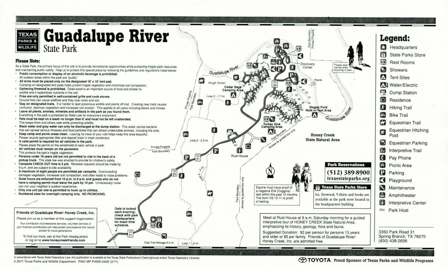 Guadalupe River State Park, Map of the Guadalupe River State Park outlining hiking trails and highlighting activities, facilities, and other features such as bathrooms, lodgings, water/electric, etc. It also contains general information for the park and for the Texas Parks and Wildlife Department.,
