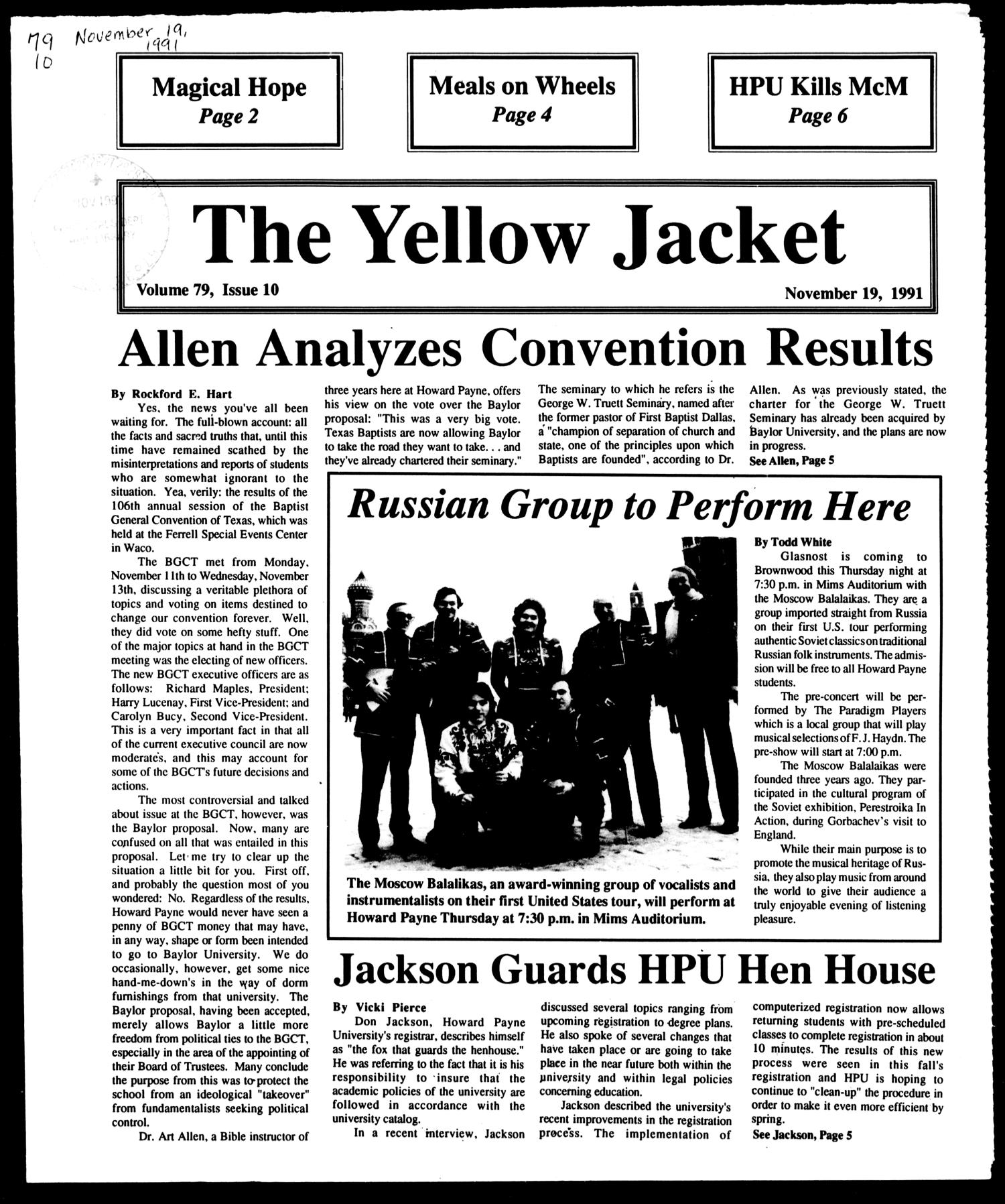The Yellow Jacket (Brownwood, Tex.), Vol. 79, No. 10, Ed. 1, Tuesday, November 19, 1991                                                                                                      [Sequence #]: 1 of 8
