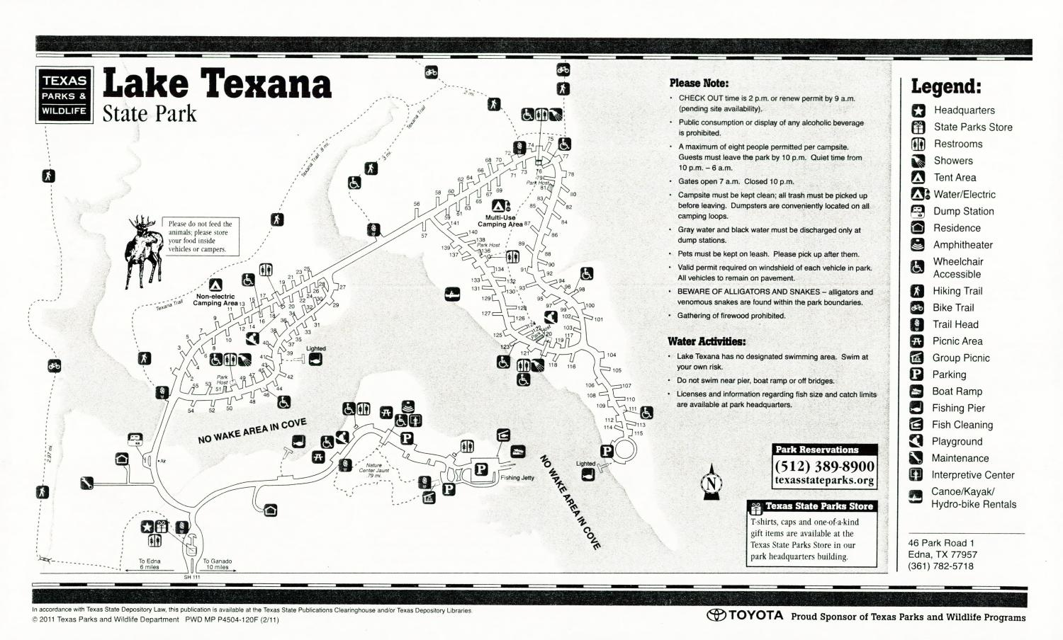 Lake Texana State Park, Map of the Lake Texana State Park outlining hiking trails and highlighting activities, facilities, and other features such as bathrooms, lodgings, water/electric, etc. It also contains general information for the park and for the Texas Parks and Wildlife Department.,