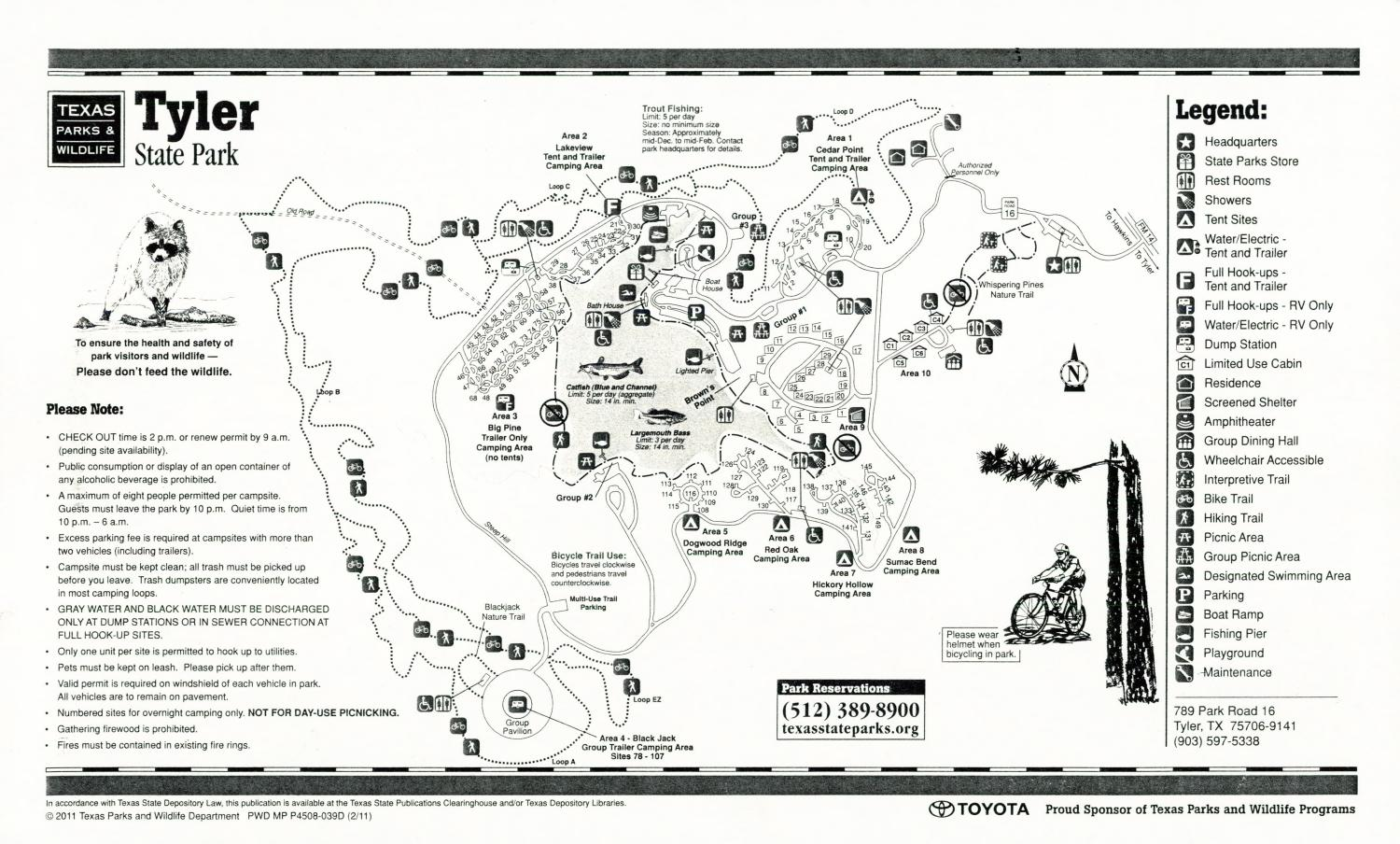 Tyler State Park, Map of the Tyler State Park outlining hiking trails and highlighting activities, facilities, and other features such as bathrooms, lodgings, water/electric, etc. It also contains general information for the park and for the Texas Parks and Wildlife Department.,