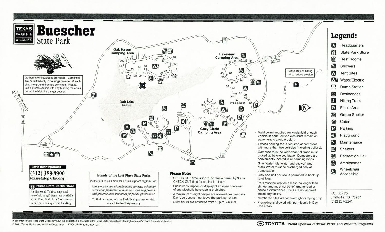Buescher State Park, Map of the Buescher State Park outlining hiking trails and highlighting activities, facilities, and other features such as bathrooms, lodgings, water/electric, etc. It also contains general information for the park and for the Texas Parks and Wildlife Department.,