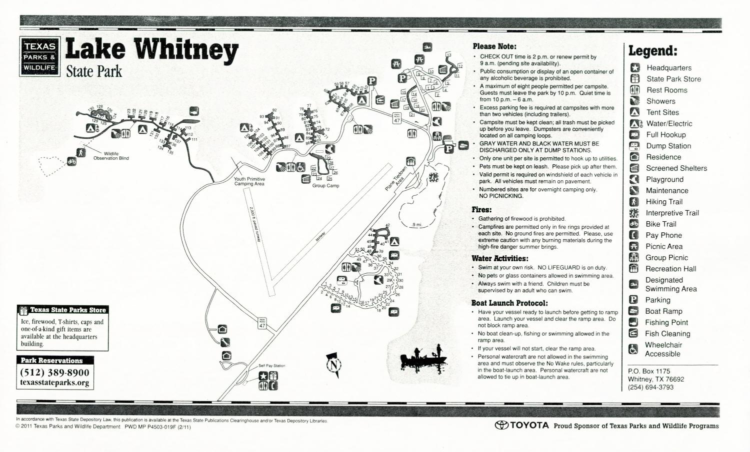 Lake Whitney State Park, Map of the Lake Whitney State Park outlining hiking trails and highlighting activities, facilities, and other features such as bathrooms, lodgings, water/electric, etc. It also contains general information for the park and for the Texas Parks and Wildlife Department. Additionally, there are various advertisements, including one with information about the Texas State Parks Pass.,