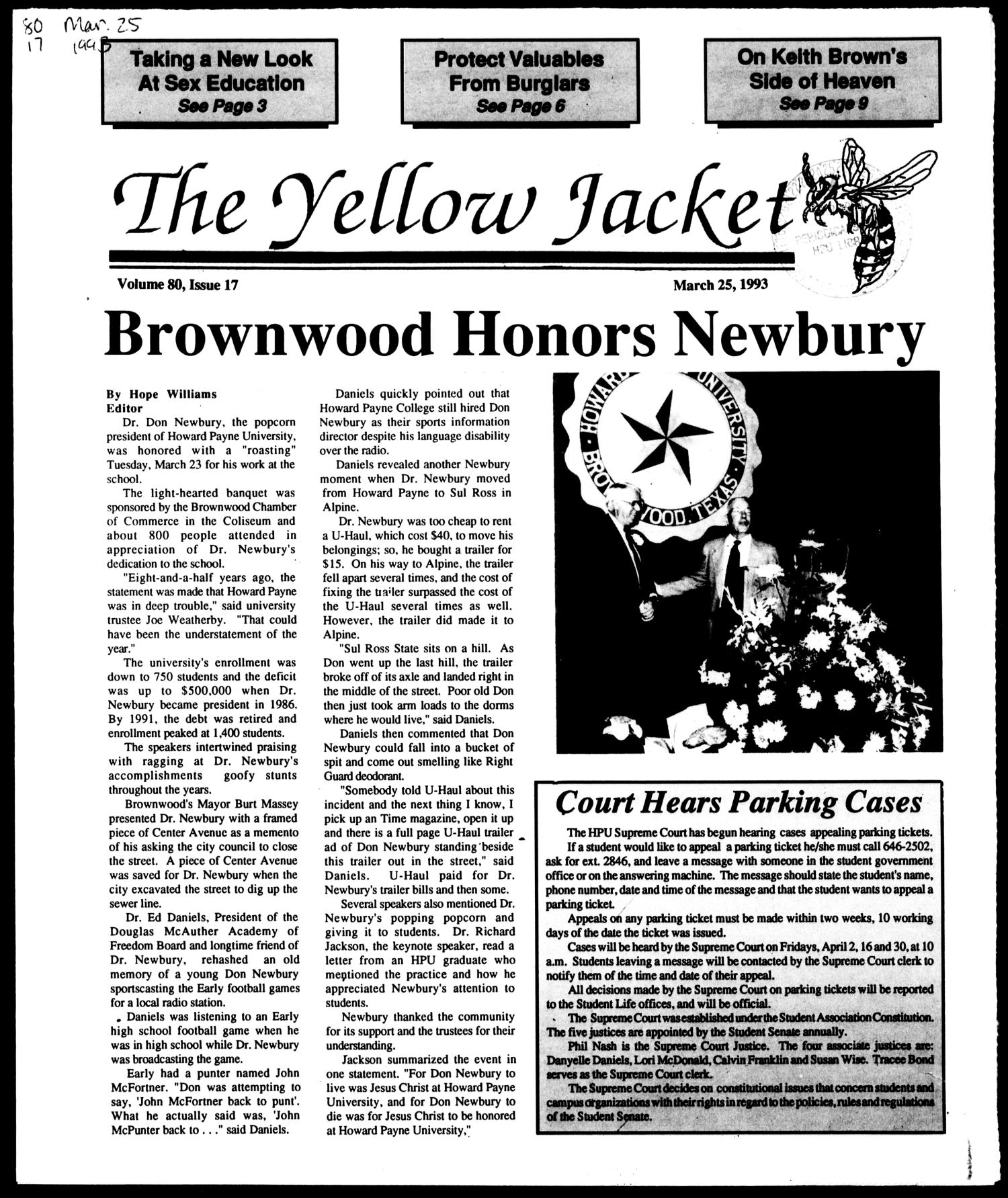The Yellow Jacket (Brownwood, Tex.), Vol. 80, No. 17, Ed. 1, Thursday, March 25, 1993                                                                                                      [Sequence #]: 1 of 12