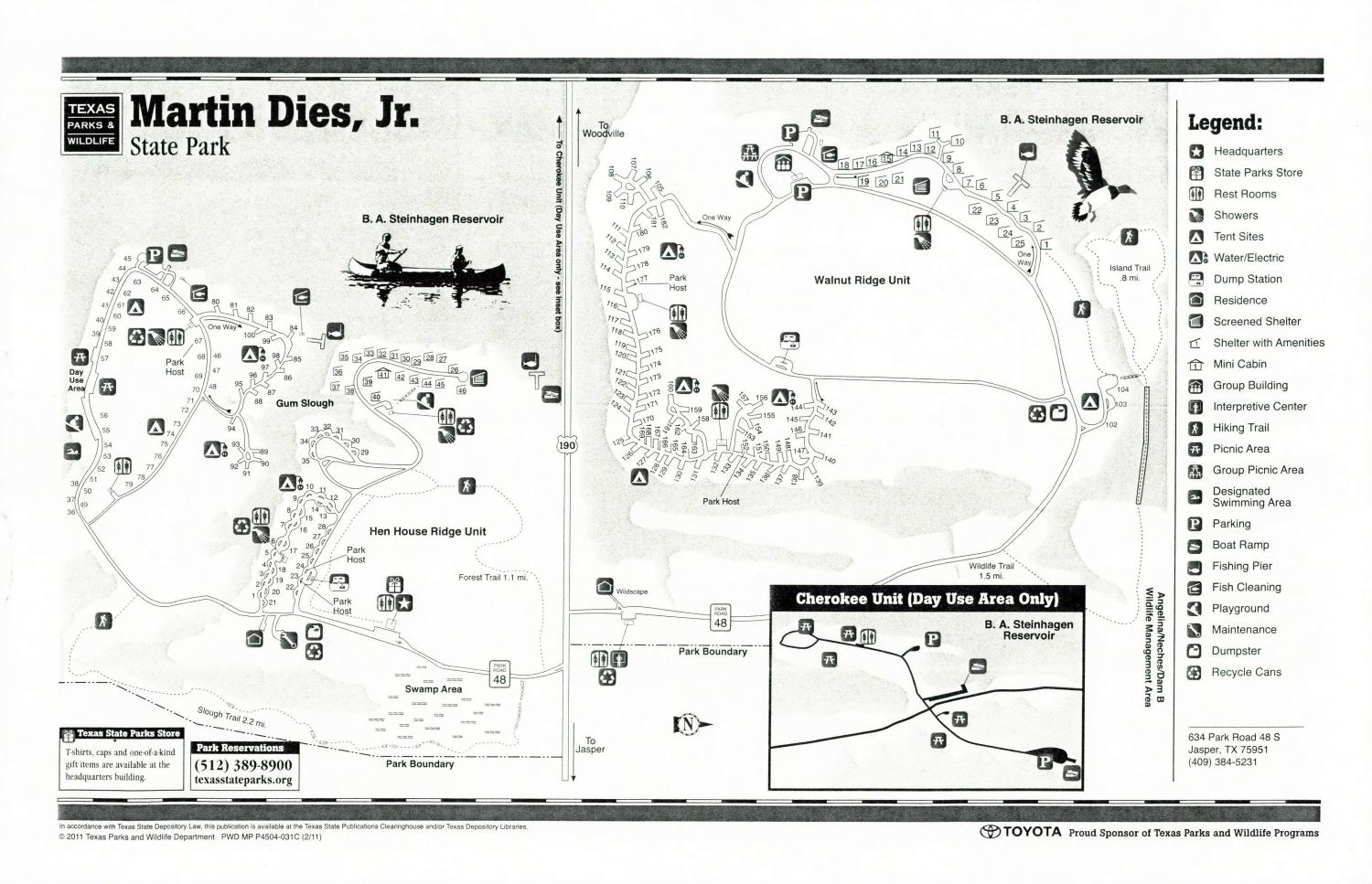 Marin Dies, Jr. State Park, Map of the Marin Dies, Jr. State Park outlining hiking trails and highlighting activities, facilities, and other features such as bathrooms, lodgings, water/electric, etc. It also contains general information for the park and for the Texas Parks and Wildlife Department. Additionally, there are various advertisements, including one with information about the Texas State Parks Pass.,
