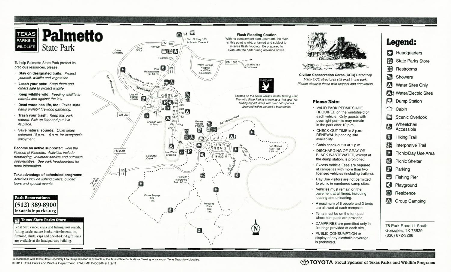 Palmetto State Park, Map of the Palmetto State Park outlining hiking trails and highlighting activities, facilities, and other features such as bathrooms, lodgings, water/electric, etc. It also contains general information for the park and for the Texas Parks and Wildlife Department. Additionally, there are various advertisements, including one with information about the Texas State Parks Pass.,