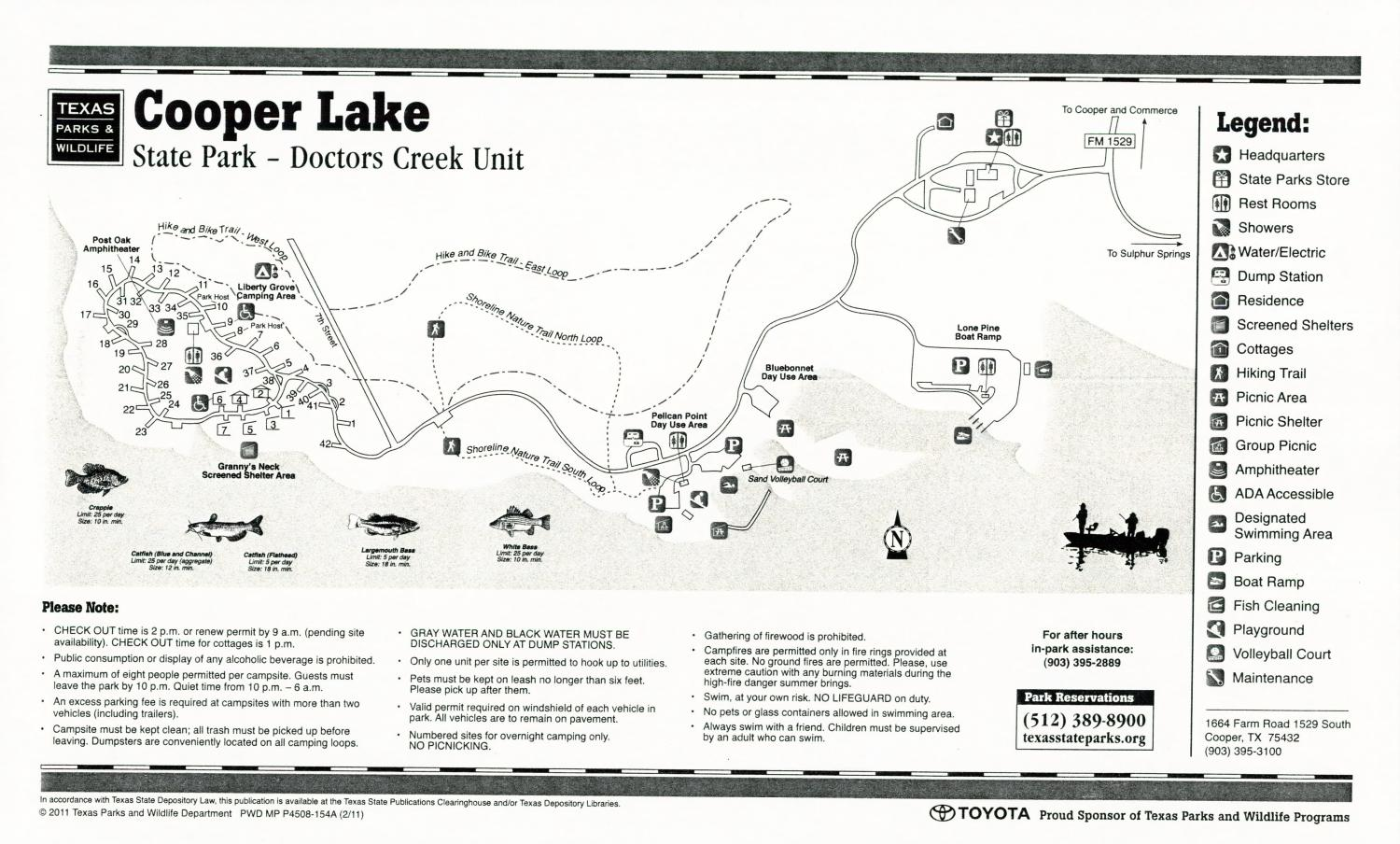 Cooper Lake State Park - Doctors Creek Unit, Map of the Doctors Creek Unit of the Cooper Lake State Park outlining hiking trails and highlighting activities, facilities, and other features such as bathrooms, lodgings, water/electric, etc. It also contains general information for the park and for the Texas Parks and Wildlife Department. Additionally, there are various advertisements, including information about the Texas State Parks Pass.,