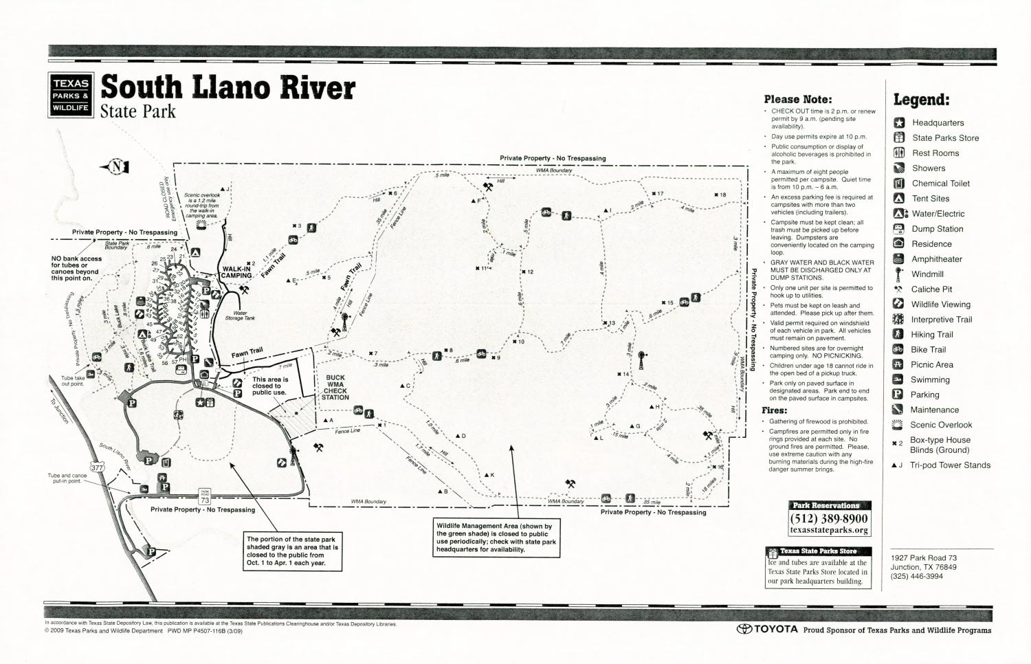 South Llano River State Park, Map of the South Llano River State Park outlining hiking trails and highlighting activities, facilities, and other features such as bathrooms, lodgings, water/electric, etc. It also contains general information for the park and for the Texas Parks and Wildlife Department. Additionally, there are various advertisements, including one with information about the Texas State Parks Pass.,