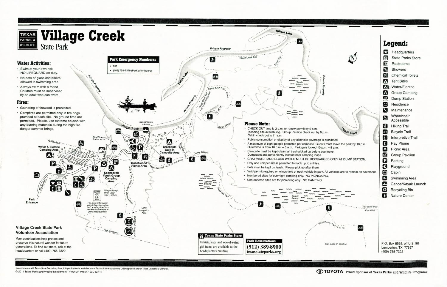 Village Creek State Park, Map of the Village Creek State Park outlining hiking trails and highlighting activities, facilities, and other features such as bathrooms, lodgings, water/electric, etc. It also contains general information for the park and for the Texas Parks and Wildlife Department. Additionally, there are various advertisements, including one with information about the Texas State Parks Pass.,