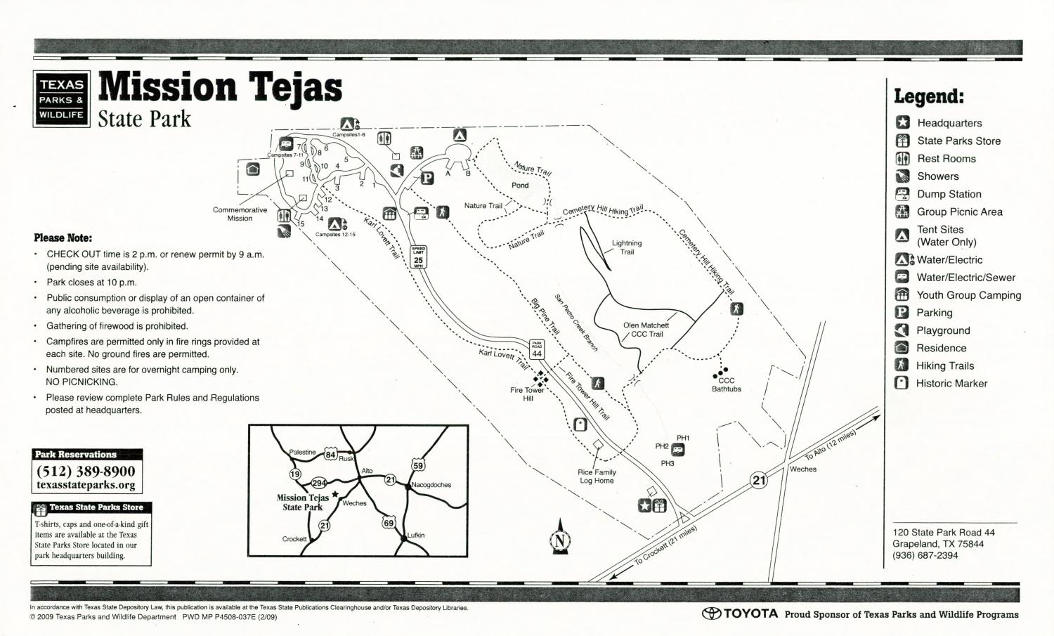 Mission Tejas State Park, Map of the Mission Tejas State Park outlining hiking trails and highlighting activities, facilities, and other features such as bathrooms, lodgings, water/electric, etc. It also contains general information for the park and for the Texas Parks and Wildlife Department.,