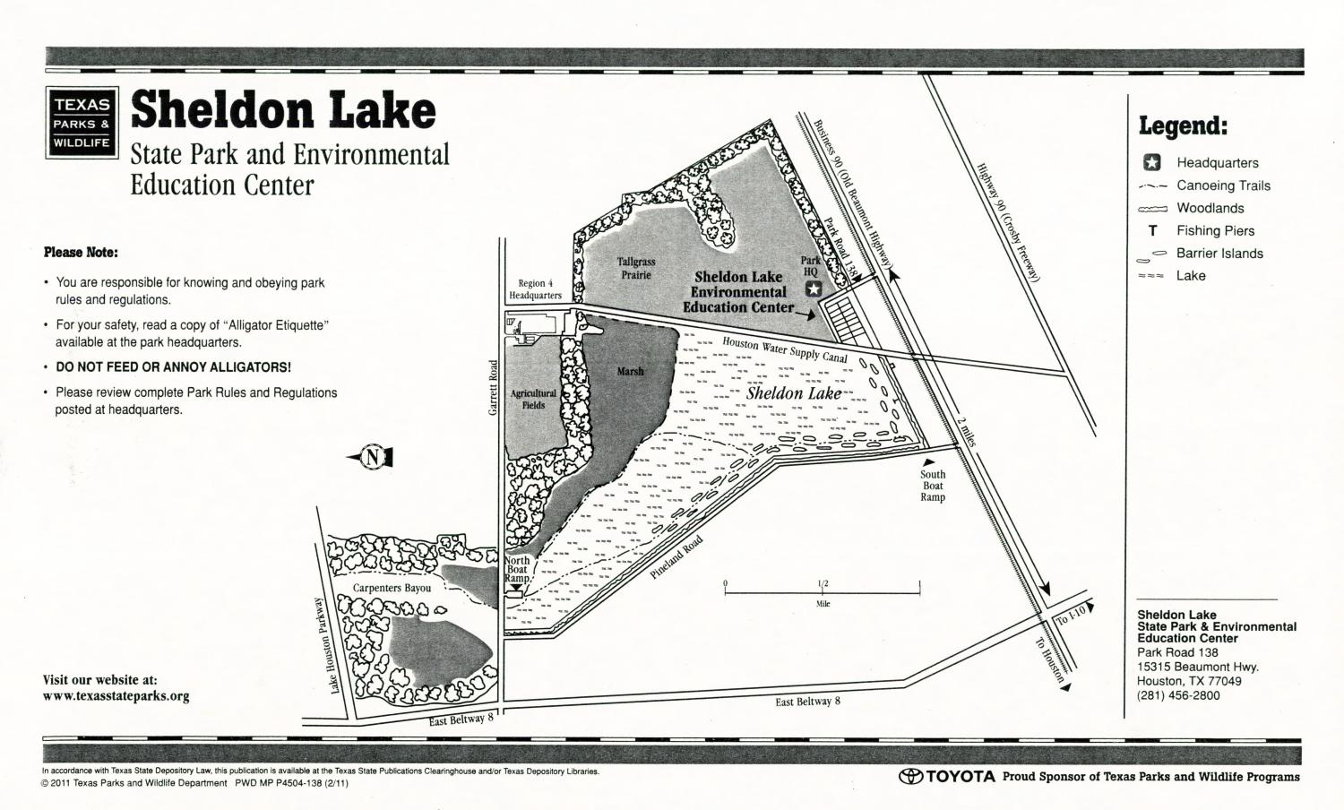 Sheldon Lake State Park and Environmental Education, Map of the Sheldon Lake State Park and Environmental Education outlining hiking trails and highlighting activities, facilities, and other features such as bathrooms, lodgings, water/electric, etc. It also contains general information for the park and for the Texas Parks and Wildlife Department. There are also various advertisements, including one for a State Parks Pass.,