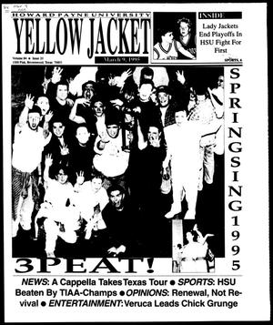 Primary view of object titled 'Howard Payne University Yellow Jacket (Brownwood, Tex.), Vol. 84, No. 20, Ed. 1, Thursday, March 9, 1995'.