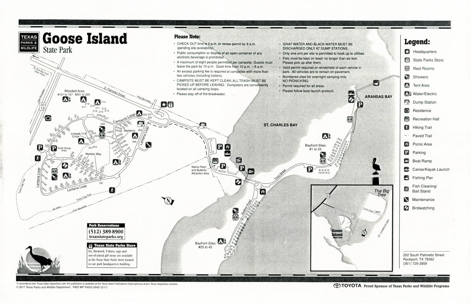 Goose Island State Park, Map of the Goose Island State Park outlining hiking trails and highlighting activities, facilities, and other features such as bathrooms, lodgings, water/electric, etc. It also contains general information for the park and for the Texas Parks and Wildlife Department. Additionally, there are various advertisements, including one with information about the Texas State Parks Pass.,