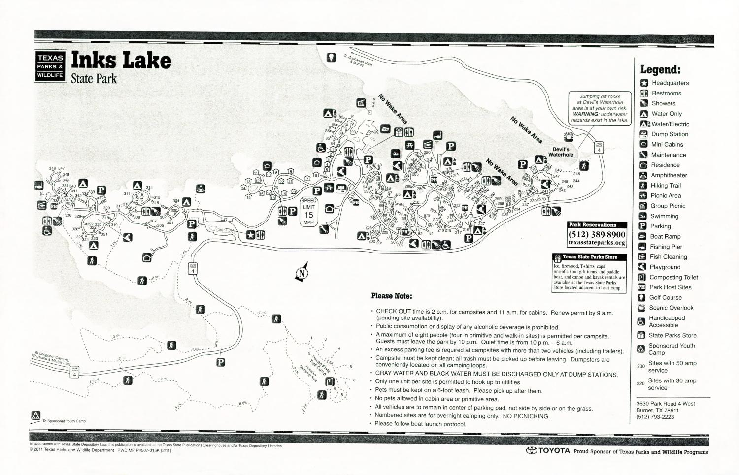 Inks Lake State Park, Map of the Inks Lake State Park outlining hiking trails and highlighting activities, facilities, and other features such as bathrooms, lodgings, water/electric, etc. It also contains general information for the park and for the Texas Parks and Wildlife Department. Additionally, there are various advertisements, including one with information about the Texas State Parks Pass.,