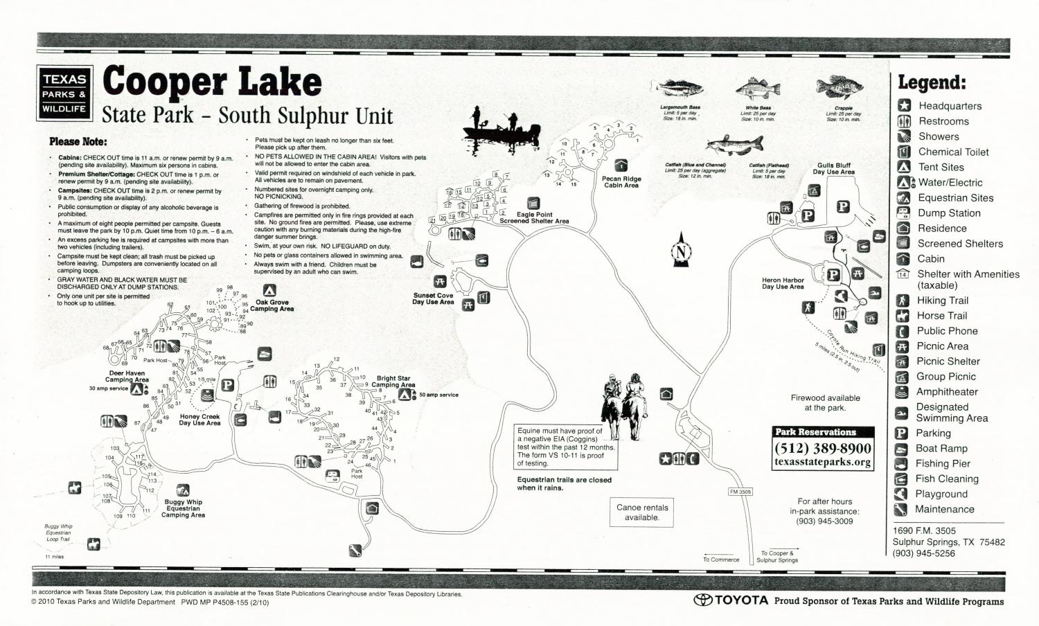 Cooper Lake State Park - South Sulphur Unit, Map of the South Sulphur Unit of the Cooper Lake State Park outlining hiking trails and highlighting activities, facilities, and other features such as bathrooms, lodgings, water/electric, etc. It also contains general information for the park and for the Texas Parks and Wildlife Department.,