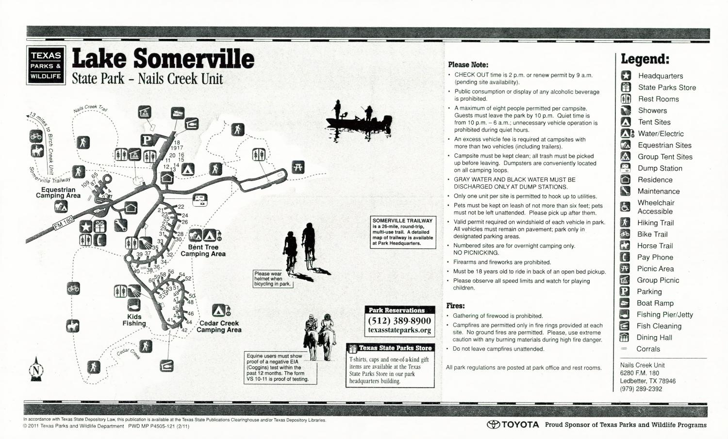 Lake Somerville State Park - Nails Creek Unit, Map of the Lake Somerville State Park - Nails Creek Unit outlining hiking trails and highlighting activities, facilities, and other features such as bathrooms, lodgings, water/electric, etc. It also contains general information for the park and for the Texas Parks and Wildlife Department. There is also a few advertisements, including information on purchasing a Texas State Parks Pass.,