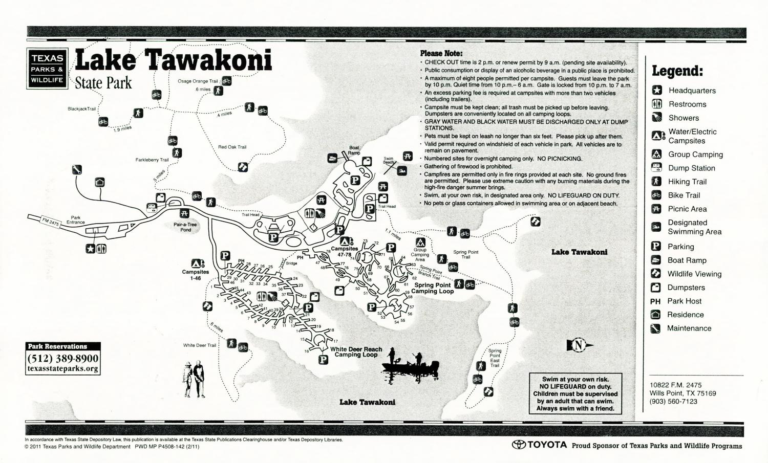 Lake Tawakoni State Park, Map of the Lake Tawakoni State Park outlining hiking trails and highlighting activities, facilities, and other features such as bathrooms, lodgings, water/electric, etc. It also contains general information for the park and for the Texas Parks and Wildlife Department.,