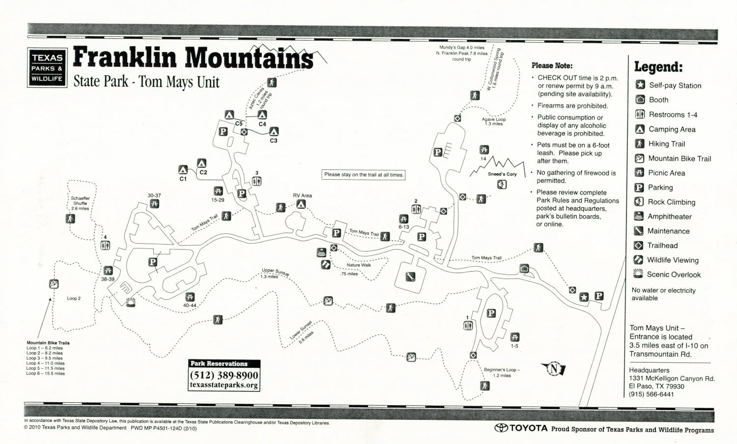 Franklin Mountains State Park - Tom Mays Unit, Map of the Franklin Mountains State Park outlining hiking trails and highlighting activities, facilities, and other features such as bathrooms, lodgings, water/electric, etc. It also contains general information for the park and for the Texas Parks and Wildlife Department.,