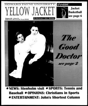 Primary view of object titled 'Howard Payne University Yellow Jacket (Brownwood, Tex.), Vol. 86, No. 14, Ed. 1, Thursday, February 22, 1996'.