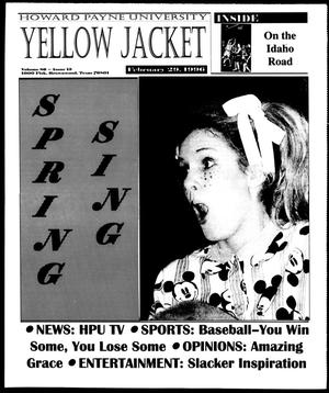 Primary view of object titled 'Howard Payne University Yellow Jacket (Brownwood, Tex.), Vol. 86, No. 15, Ed. 1, Thursday, February 29, 1996'.