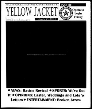Primary view of object titled 'Howard Payne University Yellow Jacket (Brownwood, Tex.), Vol. 86, No. 17, Ed. 1, Thursday, March 28, 1996'.