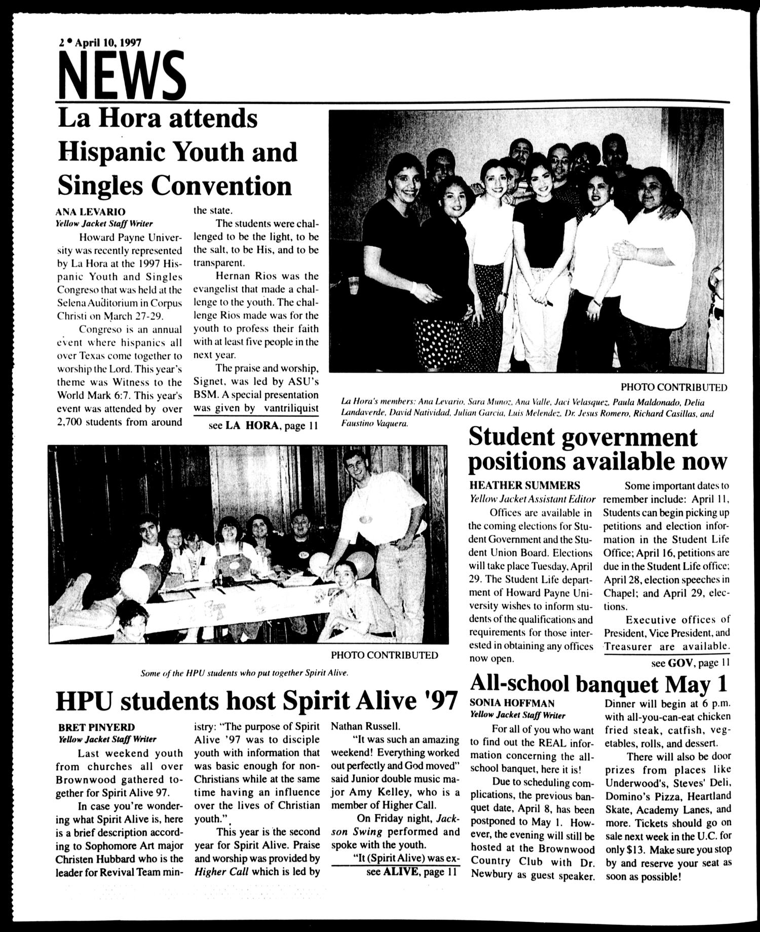 Howard Payne University Yellow Jacket (Brownwood, Tex.), Vol. 87, No. 18, Ed. 1, Thursday, April 10, 1997                                                                                                      [Sequence #]: 2 of 12
