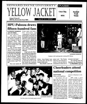 Primary view of object titled 'Howard Payne University Yellow Jacket (Brownwood, Tex.), Vol. 87, No. 20, Ed. 1, Thursday, April 24, 1997'.