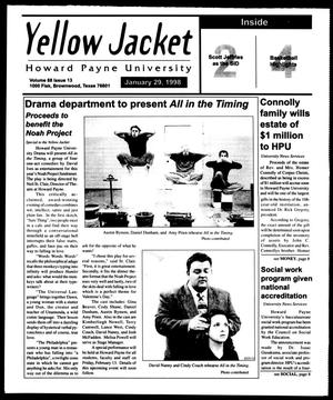 Primary view of object titled 'Howard Payne University Yellow Jacket (Brownwood, Tex.), Vol. 88, No. 13, Ed. 1, Thursday, January 29, 1998'.