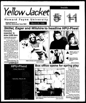 Primary view of object titled 'Howard Payne University Yellow Jacket (Brownwood, Tex.), Vol. 88, No. 19, Ed. 1, Thursday, March 26, 1998'.