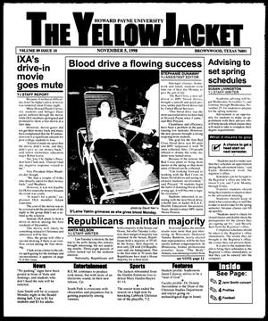 Primary view of object titled 'The Yellow Jacket (Brownwood, Tex.), Vol. 89, No. 10, Ed. 1, Thursday, November 5, 1998'.