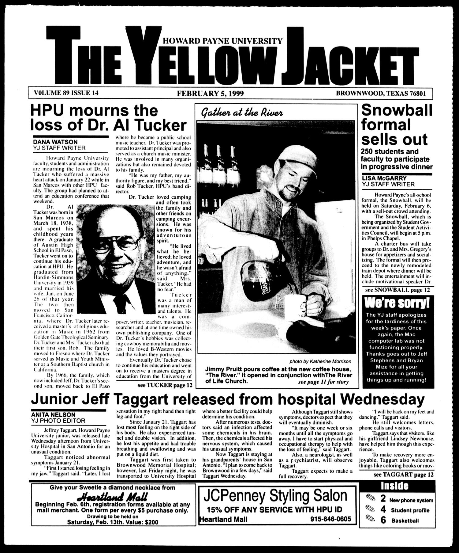 The Yellow Jacket (Brownwood, Tex.), Vol. 89, No. 14, Ed. 1, Friday, February 5, 1999                                                                                                      [Sequence #]: 1 of 12