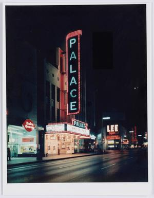 Primary view of object titled '[Exterior of Palace Theatre at night]'.
