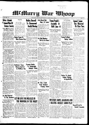 McMurry War Whoop (Abilene, Tex.), Vol. 11, No. 22, Ed. 1, Saturday, March 10, 1934