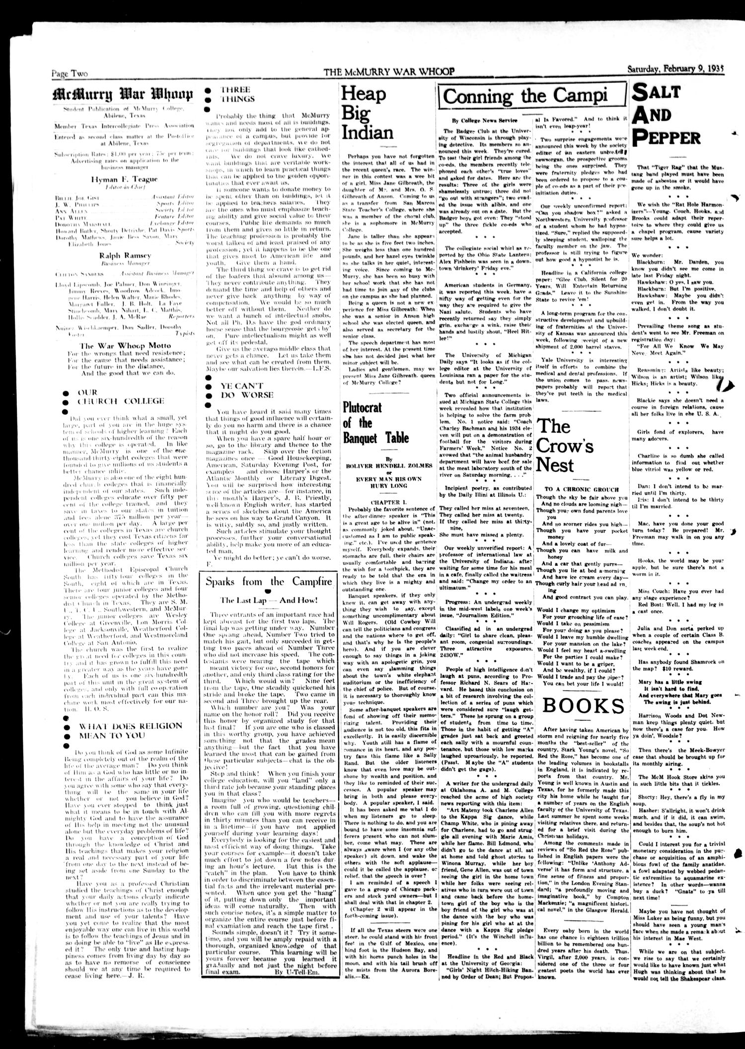 McMurry War Whoop (Abilene, Tex.), Vol. 12, No. 18, Ed. 1, Saturday, February 9, 1935                                                                                                      [Sequence #]: 2 of 4