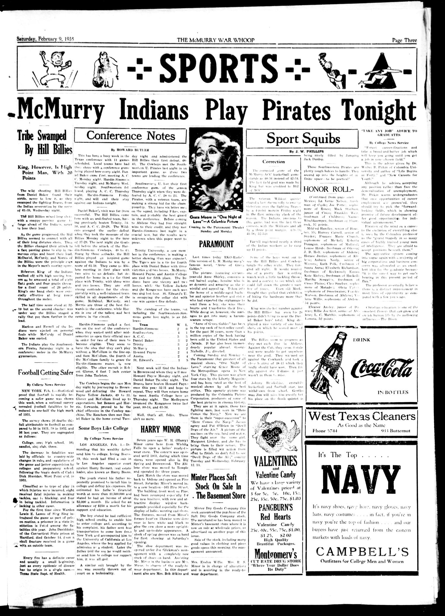 McMurry War Whoop (Abilene, Tex.), Vol. 12, No. 18, Ed. 1, Saturday, February 9, 1935                                                                                                      [Sequence #]: 3 of 4