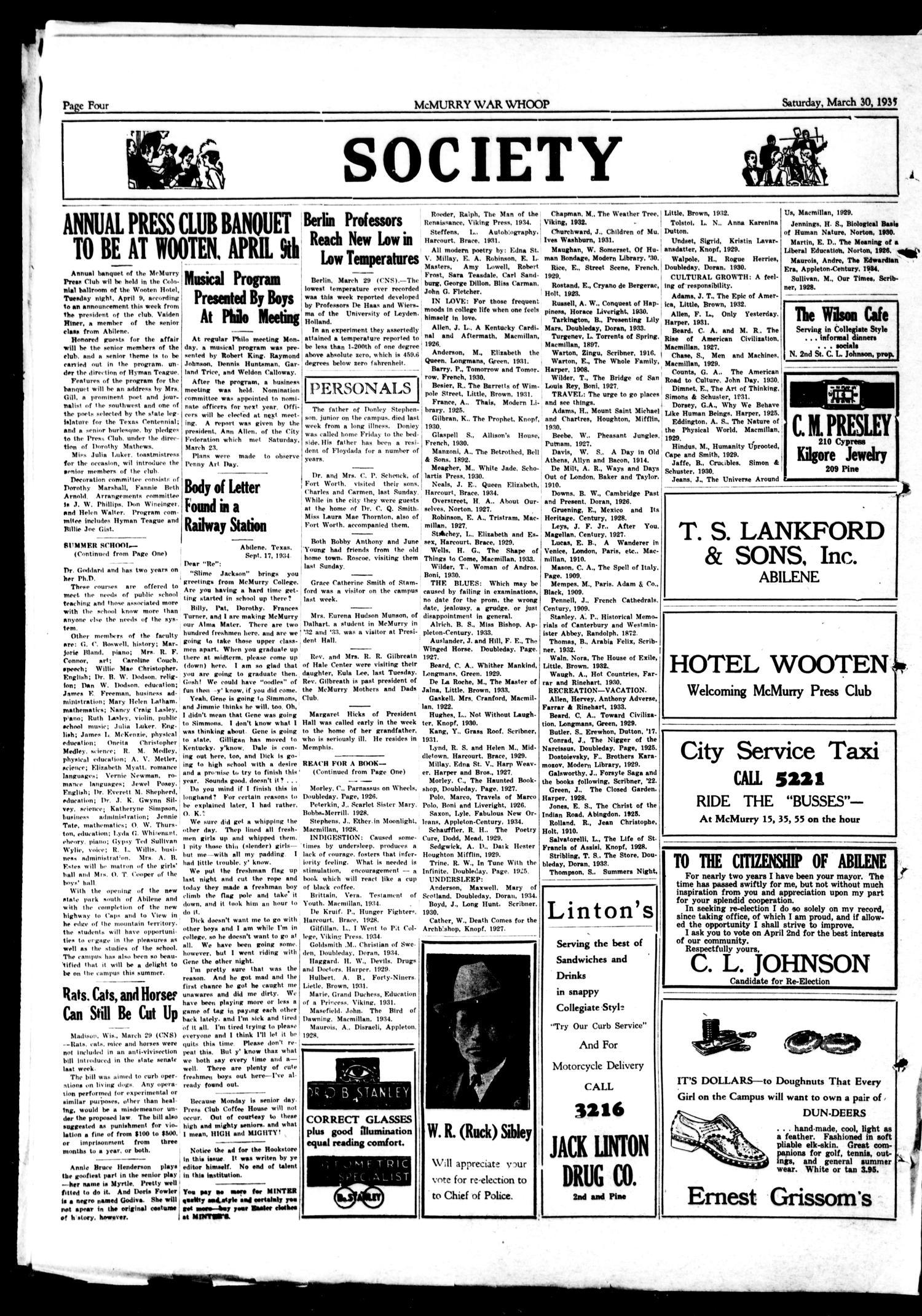 Mcmurry War Whoop Abilene Tex Vol 12 No 25 Ed 1