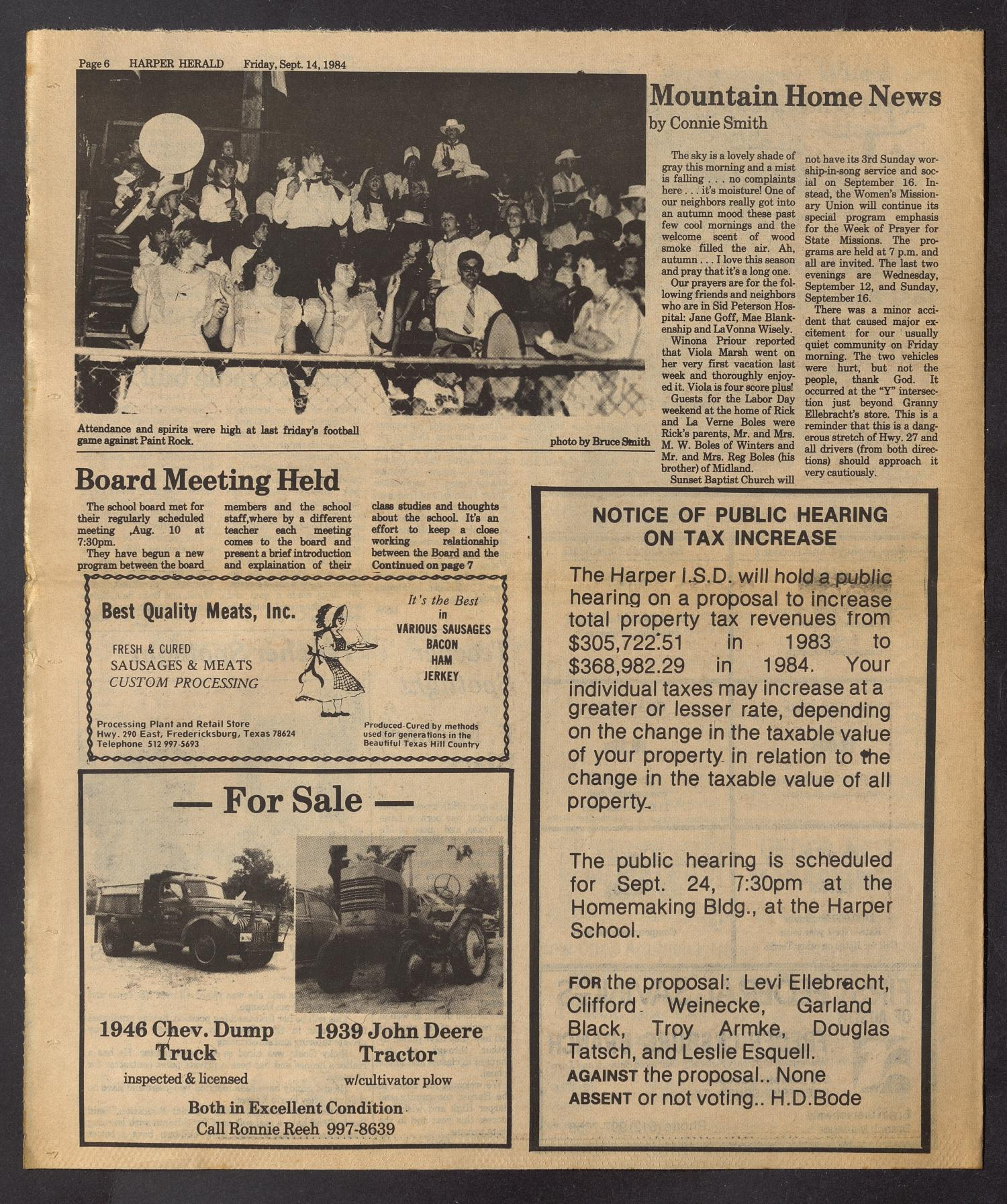 The Harper Herald (Harper, Tex.), Vol. 69, No. 37, Ed. 1 Friday, September 14, 1984                                                                                                      [Sequence #]: 6 of 8