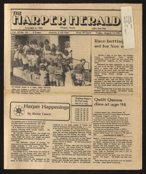 Primary view of object titled 'The Harper Herald (Harper, Tex.), Vol. 63, No. 33, Ed. 1 Friday, August 14, 1987'.