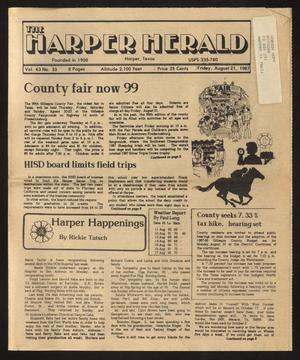 Primary view of object titled 'The Harper Herald (Harper, Tex.), Vol. 63, No. 33, Ed. 1 Friday, August 21, 1987'.
