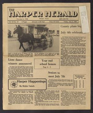 Primary view of object titled 'The Harper Herald (Harper, Tex.), Vol. 63, No. 27, Ed. 1 Friday, July 3, 1987'.