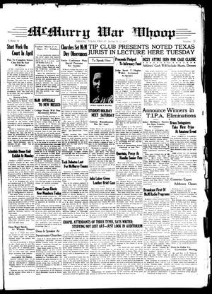McMurry War Whoop (Abilene, Tex.), Vol. 14, No. 20, Ed. 1, Friday, March 12, 1937