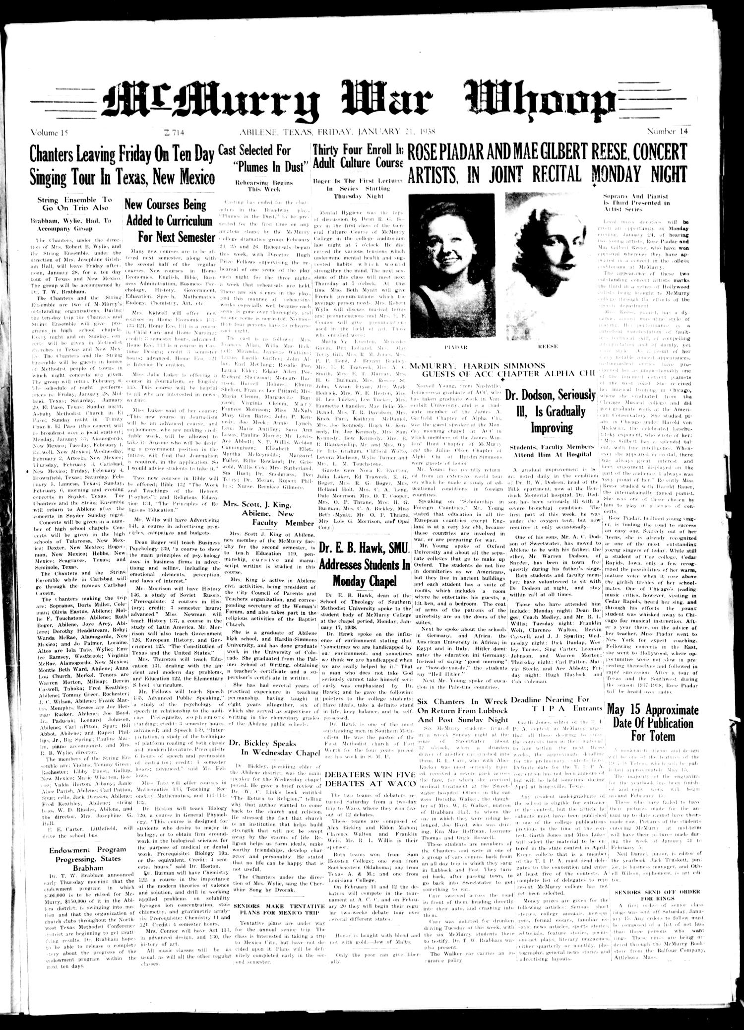McMurry War Whoop (Abilene, Tex.), Vol. 15, No. 14, Ed. 1, Friday, January 21, 1938                                                                                                      [Sequence #]: 1 of 4