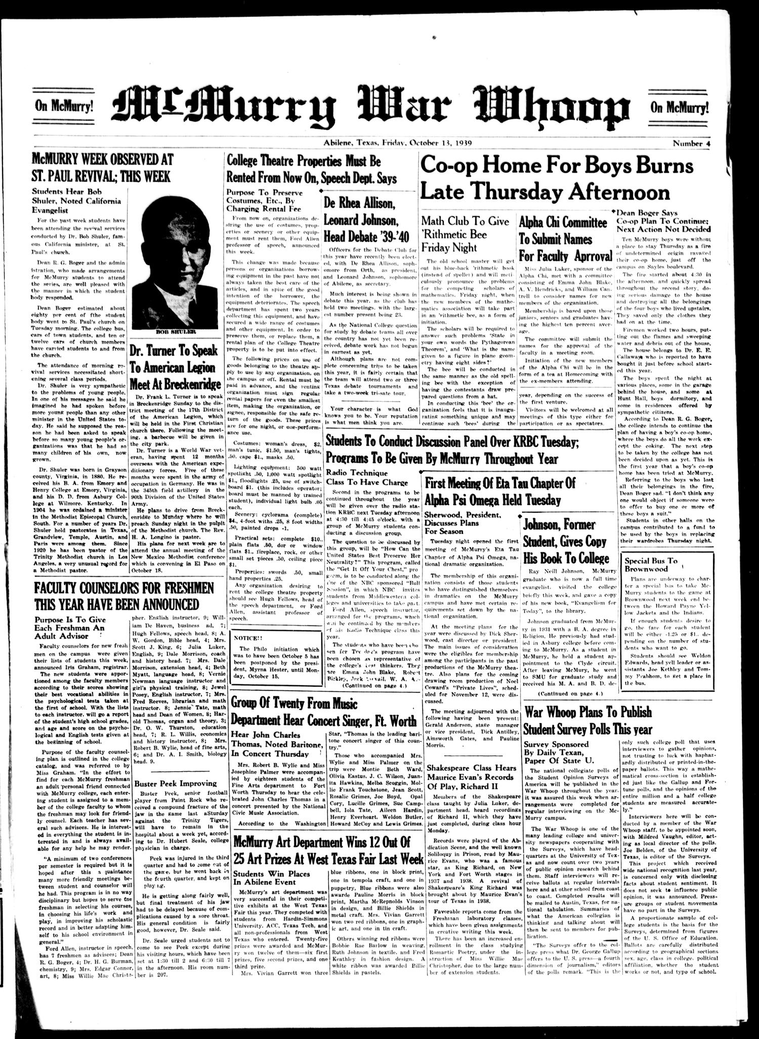 McMurry War Whoop (Abilene, Tex.), No. 4, Ed. 1, Friday, October 13, 1939                                                                                                      [Sequence #]: 1 of 4