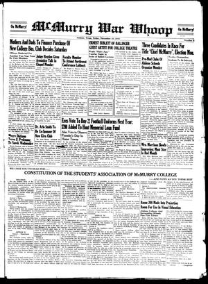 McMurry War Whoop (Abilene, Tex.), No. 8, Ed. 1, Friday, November 10, 1939