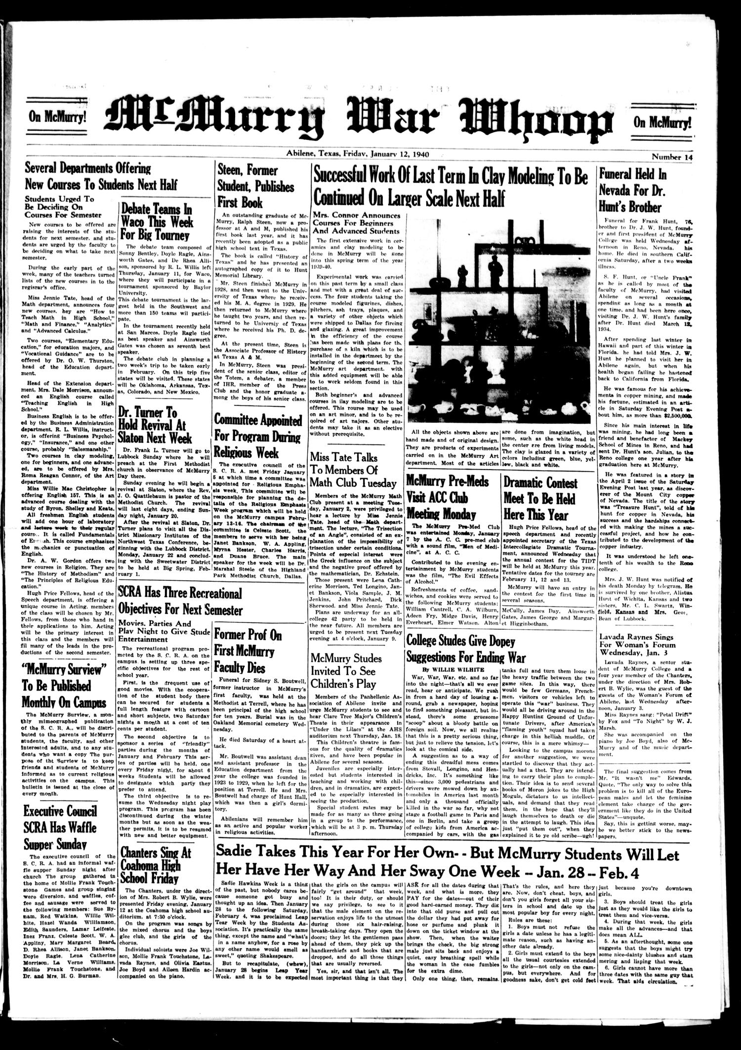 McMurry War Whoop (Abilene, Tex.), No. 14, Ed. 1, Friday, January 12, 1940                                                                                                      [Sequence #]: 1 of 4