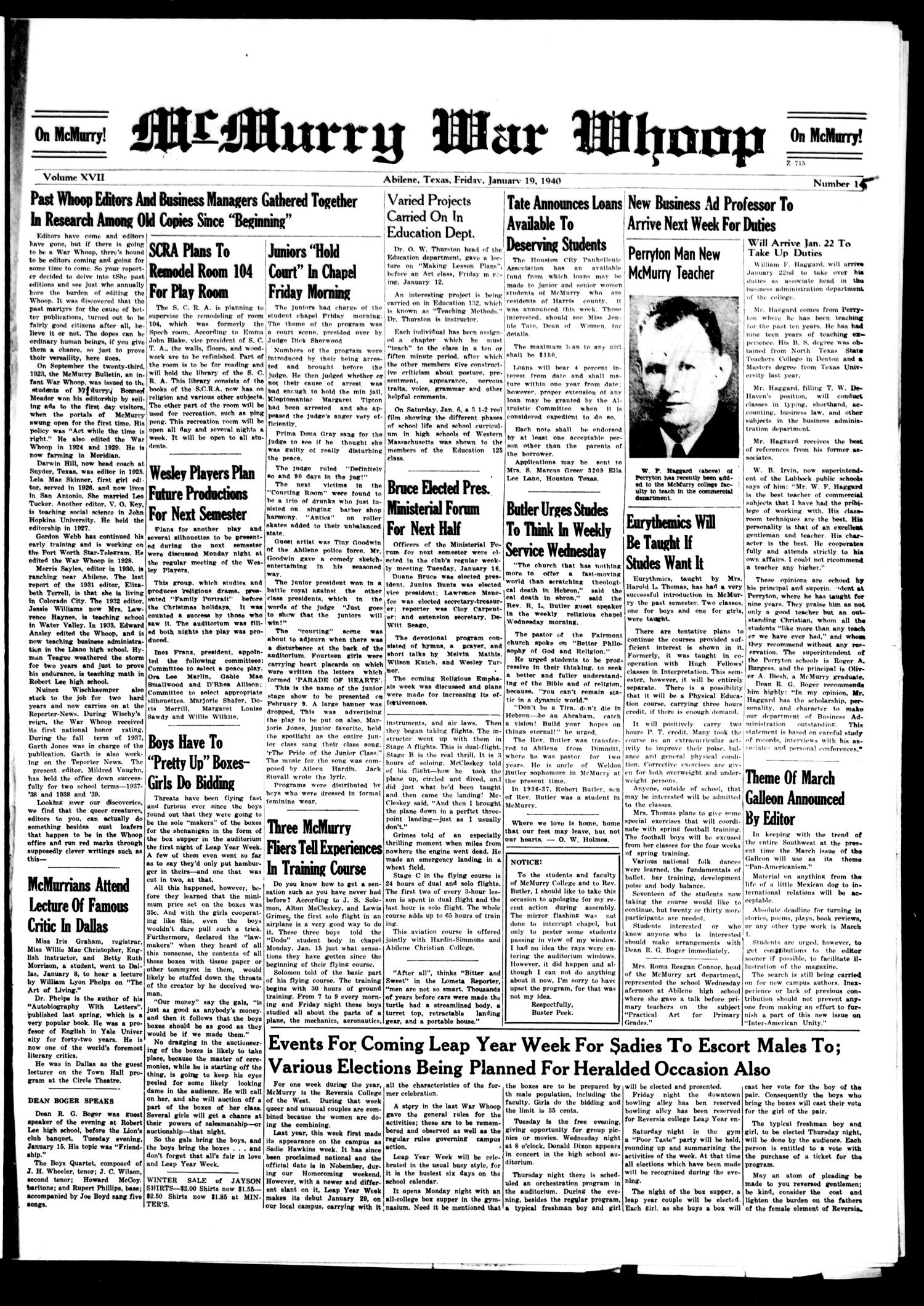 McMurry War Whoop (Abilene, Tex.), Vol. 17, No. 15, Ed. 1, Friday, January 19, 1940                                                                                                      [Sequence #]: 1 of 4