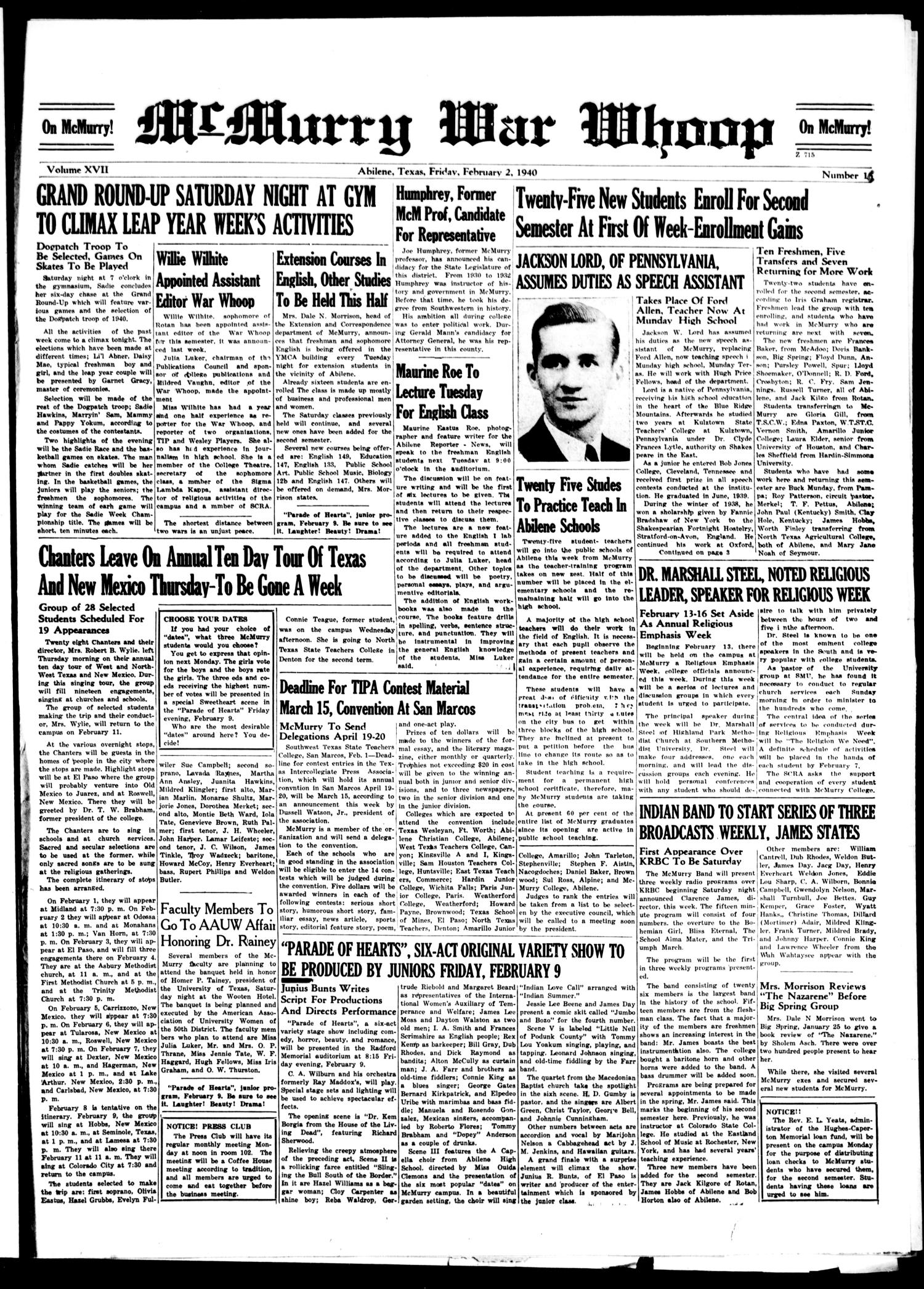 McMurry War Whoop (Abilene, Tex.), Vol. 17, No. 16, Ed. 1, Friday, February 2, 1940                                                                                                      [Sequence #]: 1 of 4