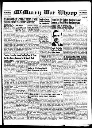 McMurry War Whoop (Abilene, Tex.), Vol. 17, No. 16, Ed. 1, Friday, February 2, 1940