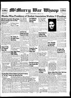 McMurry War Whoop (Abilene, Tex.), Vol. 17, No. 25, Ed. 1, Friday, April 26, 1940