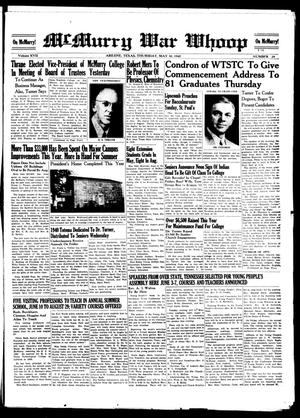 McMurry War Whoop (Abilene, Tex.), Vol. 17, No. 29, Ed. 1, Thursday, May 30, 1940